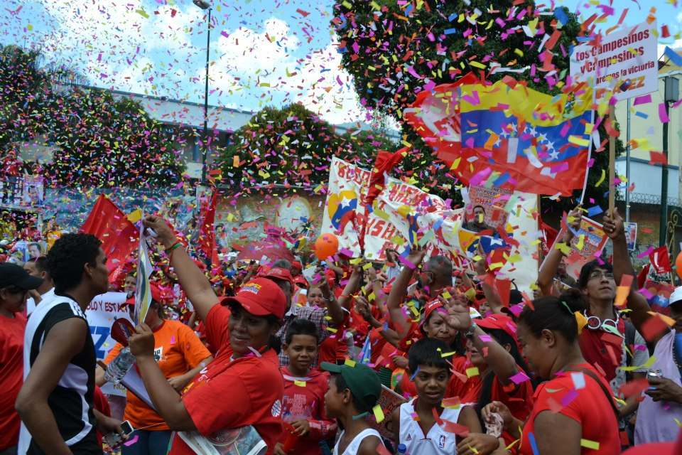 Chavez supporters rallying in Caracas in the lead up to the October 2012 presidential elections.