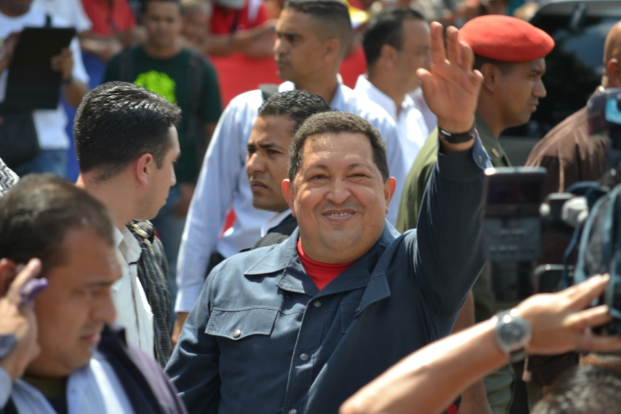 Former Venezuelan president Hugo Chavez outside a voting booth on 7 October, 2012. Minutes later he cast his vote as incumbent in the last election he would win. He won the 2012 presidential election by a landslide, but two months later he was hospitalised in Cuba, where he underwent cancer surgery. The following March, then vice president Nicolas Maduro delivered a televised address, announcing Chavez had died. During Chavez's 12 years in power, poverty was cut by almost half, and the government implemented a slew of social programmes providing free healthcare, housing, tertiary education, subsidised food and more. As Maduro delivered the announcement, people around me broke down in tears. My working class neighbourhood in Merida came to a grinding halt; some people were just standing in the street, looking utterly bewildered. That night I went down to Merida's main square, where there was a collective outpouring of grief until early the next morning.