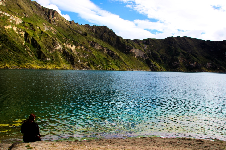 Laguna Quilotoa, the crown gem of the Quilotoa Loop – a backpacking trail that winds through a collection of Andean villages south of Quito.